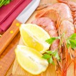 Prawns with lemon — Stock Photo