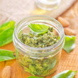 Pesto in a jar — Stock Photo