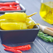 Chilli peppers and peppercini — Stock Photo