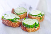 Toast with cucumber — Stock Photo