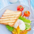 Poached egg on toast — Stock Photo
