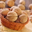 Walnuts in basket — Foto Stock