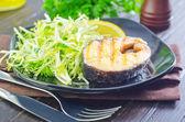 Salad and salmon — Stock Photo