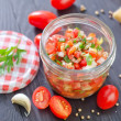 Salsa in a jar — Stock Photo