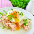 Tuna and egg — Stock Photo