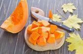 Pumpkin on the board — Stock Photo