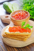 Toasts with red caviar — Stock Photo