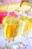 Champagne flutes — Stock Photo