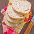 Bread on a towel — Stock Photo