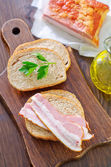 Bread with bacon — Stock Photo