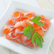 Salmon in a bowl — Stock Photo