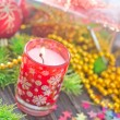 Candle and christmas decoration — Lizenzfreies Foto