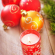 Candle and Christmas decoration — Foto de Stock