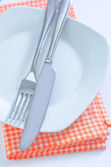 Fork and knife on plate — Stock Photo