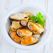 Mussels in a bowl — Stock Photo