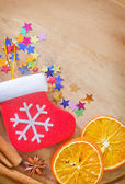 Spice and christmas background — Stock Photo