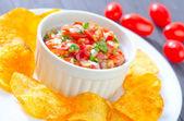 Nachos with salsa — Stock Photo
