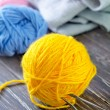 Stock Photo: Knitting wool and needles