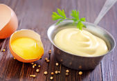 Mayonnaise in spoon — Stock Photo