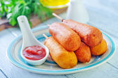 Corndogs on the plate — Stock Photo