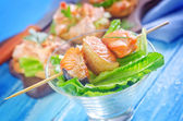 Salmon kebab and sandwich — Stock Photo