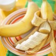 Milk with bananas — Stock Photo