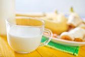 Milk with bananas — Stock Photo