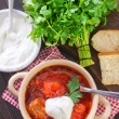 Stock Photo: Traditional Russian-Ukrainiborscht soup