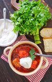 Traditional Russian-Ukrainian borscht soup — Stock Photo