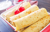 Pancakes with cherry — Stock Photo