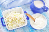 Cottage,milk and sour cream — Stock Photo