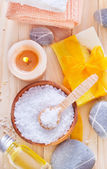 Sea salt, soap and towels — Stok fotoğraf