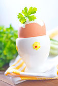 Boiled egg with parsley — Stock Photo