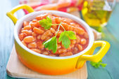 Beans with tomato sauce — Stock Photo