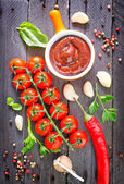 Tomato sauce and spice — Stock Photo