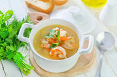 Soup with shrimps — Stock Photo