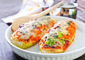 Marrow stuffed with cheese and meat — Stock Photo