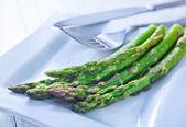 Fried asparagus — Stock Photo