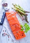 Salmon on wood — Stock Photo