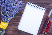 Lavender and note — Stock Photo