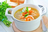 Shrimp soup — Stock Photo