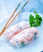 Rolls with shrimps — Foto Stock