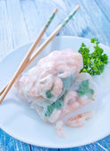 Rolls with shrimps — Stok fotoğraf