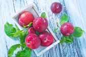 Plums in box — Stock Photo