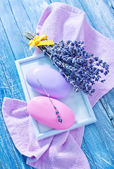 Soap and  lavender — Stock Photo