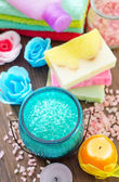 Color salt and soaps — Stock Photo