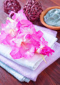 Towels and flowers — Stock Photo
