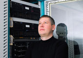 It technician in the data center — Stock Photo