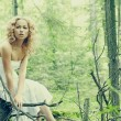 Fashion portrait of young beautiful blond woman in forest - Stock Photo