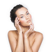 Close-up face of beautiful woman with clean fresh healthy skin — Stock Photo